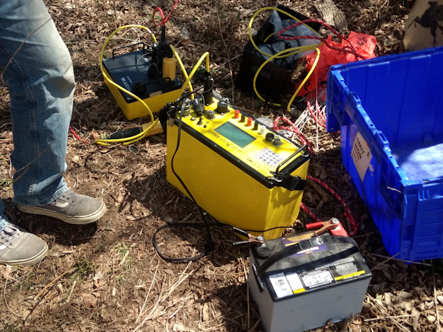AGI SuperSting R8 resistivity imaging console and switch box. Geonics EM31 on the left and an EM38 on the right from K. D. Jones Instruments geophysical equipment rental.