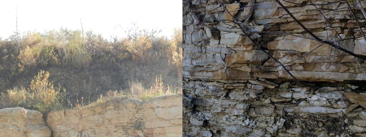 Bedrock covered by soil (left) and an example of fractured bedrock (right).
