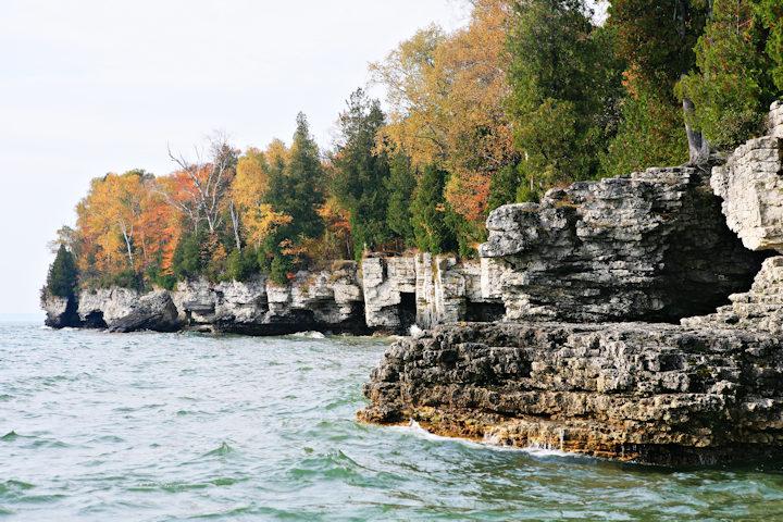 Exposed dolomite along Lake Michigan Shoreline in Door Co.