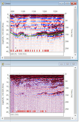 GPR image of depth to bedrock with 50 MHz and 100 MHz antennas.