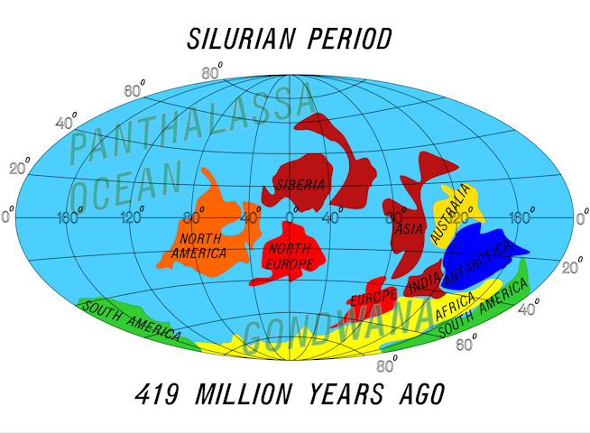 Location of land masses during the Silurian period.