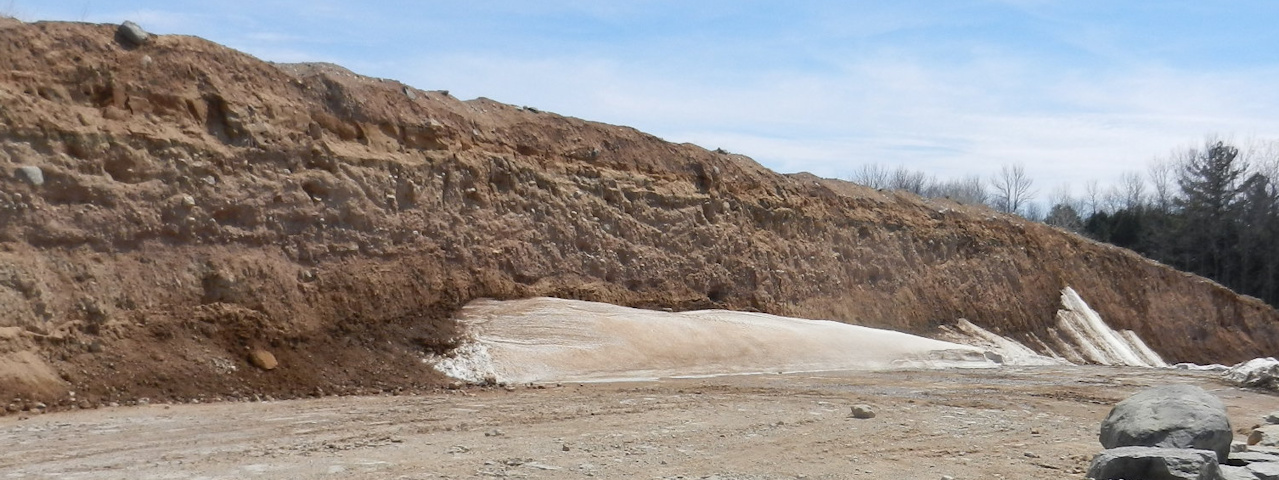 Bedrock is exposed after about 15 feet of soil is removed from the top of the Silurian bedrock near Green Bay WI.